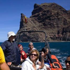 Alex Bramwell, taxi aquatique, water taxi alongside the North West coast of Gran Canaria, Wassertaxi, Agaete