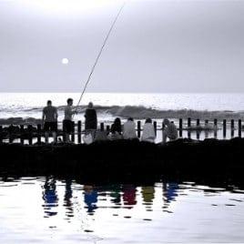 La calima en Las Salinas, por David Béjar, la pêche aux piscines naturelles d'Agaete, Calima im Norden von Gran Canaria