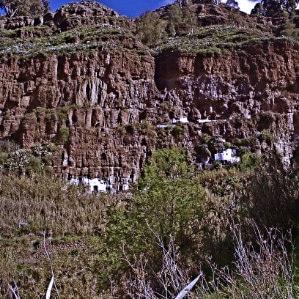 Aussicht von El Hornillo von Octamila, maisons perchées à Agaete, cave houses in Northwest of Gran Canaria, casas cueva en Canarias
